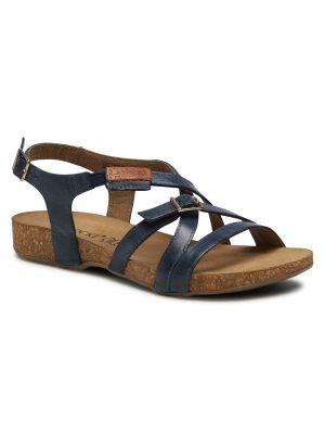 Niebieskie sandały skorzane na co dzień Lasocki