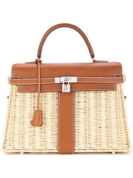 Коричневая соломенная сумка-тоут с декоративной отделкой винтажная Hermes