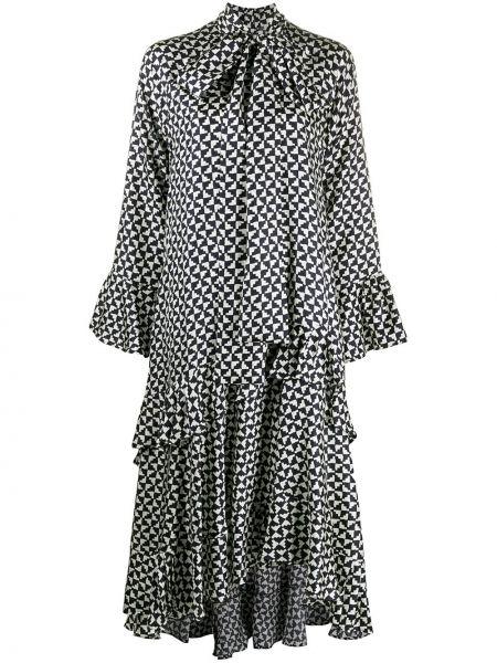 Черное шелковое платье макси с длинными рукавами Odeeh