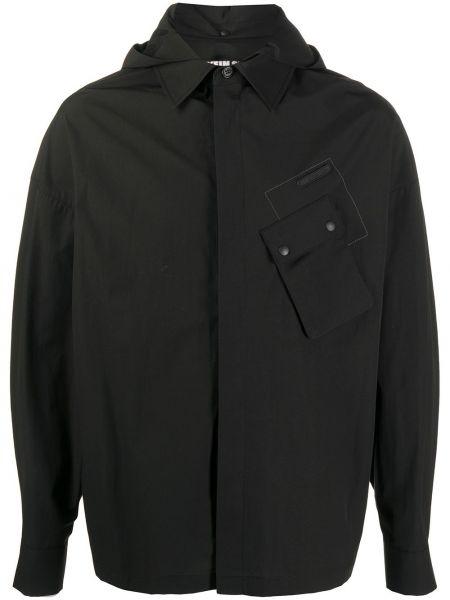 Прямая черная куртка с капюшоном на молнии с воротником Hyein Seo