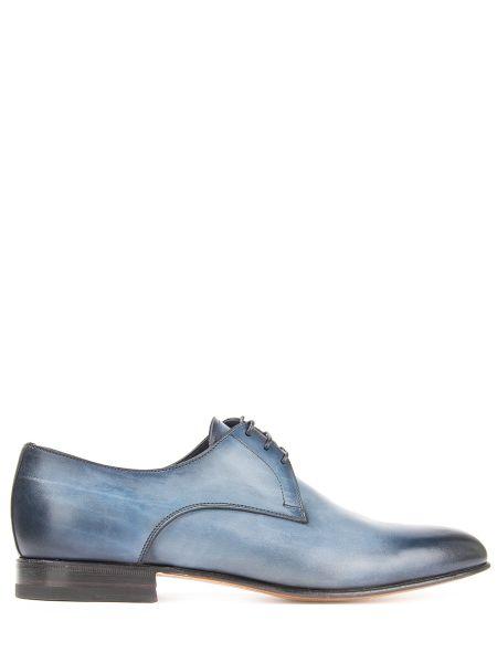 Синие кожаные кожаные туфли с декоративной отделкой на шнуровке Santoni
