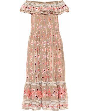 Платье миди с вышивкой коралловый Juliet Dunn