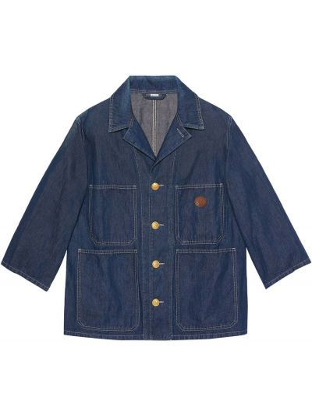 Klasyczny jeansy z kołnierzem z łatami z kieszeniami Gucci