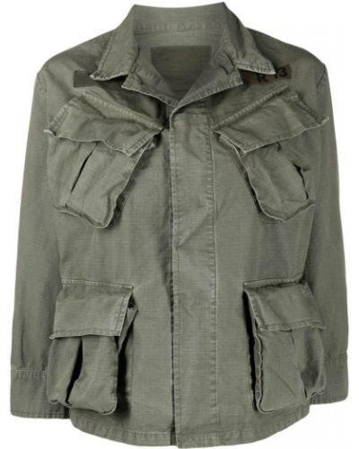 Хлопковая зеленая куртка с воротником R13