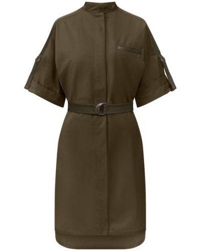 Кожаное зеленое платье с декоративной отделкой Yves Salomon