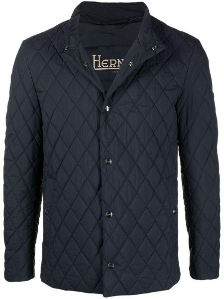 Z rękawami niebieski pikowana długa kurtka Herno