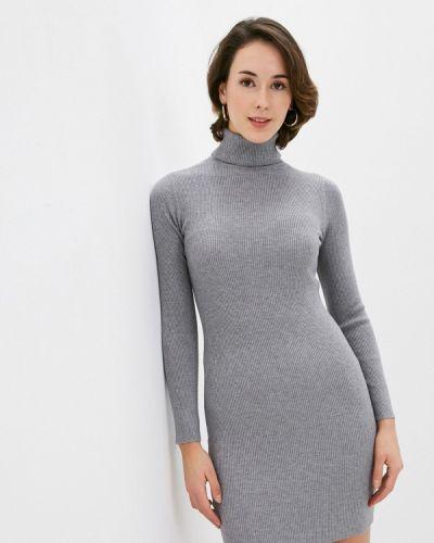 Серое вязаное трикотажное платье B.style