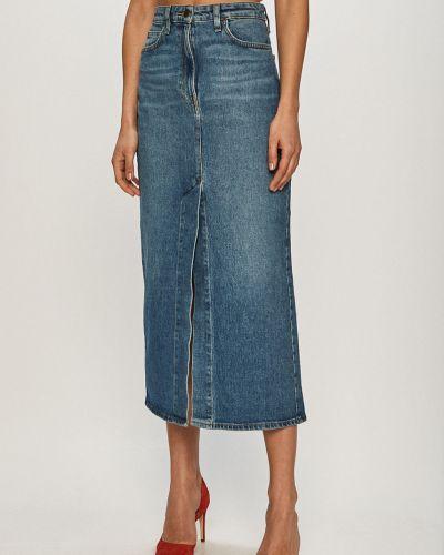 Niebieska spódnica maxi bawełniana na co dzień Lee