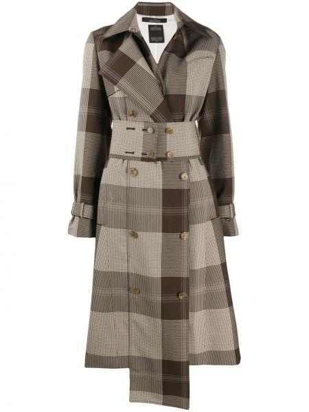Коричневый длинное пальто на пуговицах двубортный Rokh