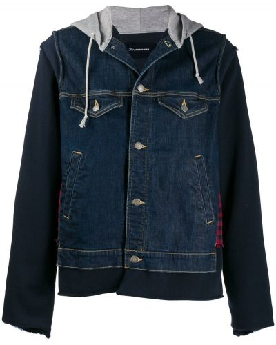 Прямая синяя джинсовая куртка на пуговицах прозрачная Johnundercover