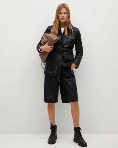 Черная кожаная куртка с подкладкой Mango