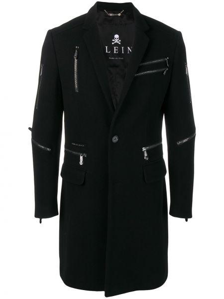 Czarny płaszcz wełniany miejski Philipp Plein