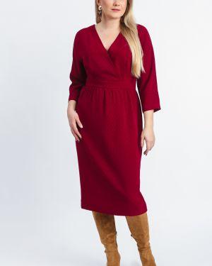 Платье с поясом бордовый с запахом Lacywear
