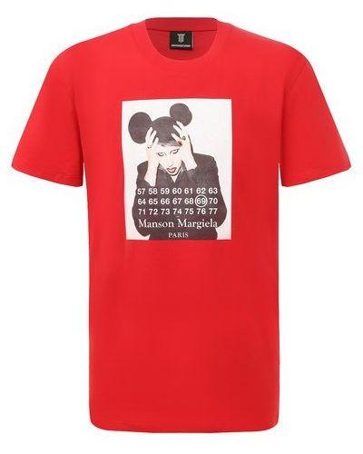 Хлопковая красная футболка Diego Venturino
