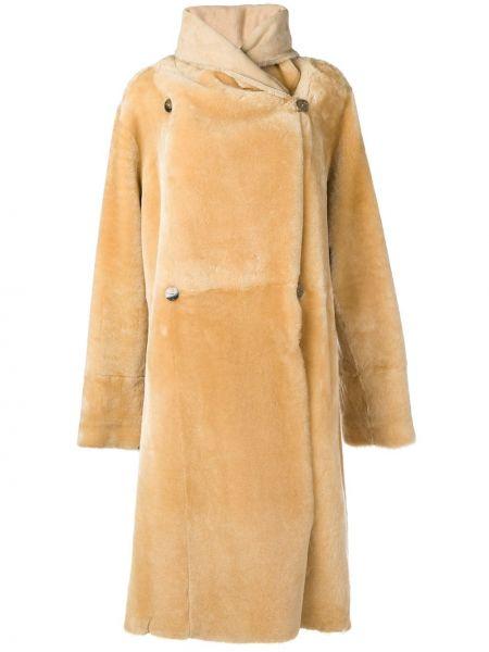 Кожаное длинное пальто свободного кроя с карманами Liska