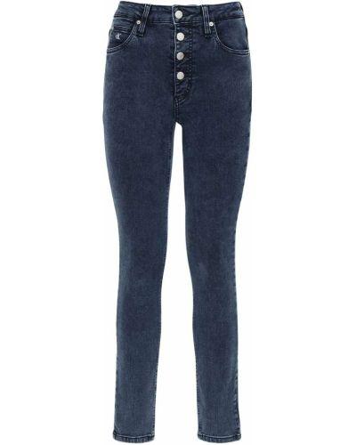 Синие зауженные джинсы с высокой посадкой с карманами с заплатками Calvin Klein Jeans