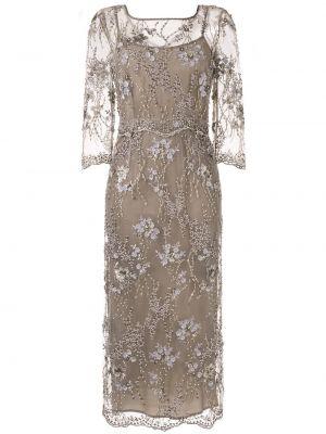 Коричневое асимметричное платье миди с вышивкой с вырезом Antonio Marras