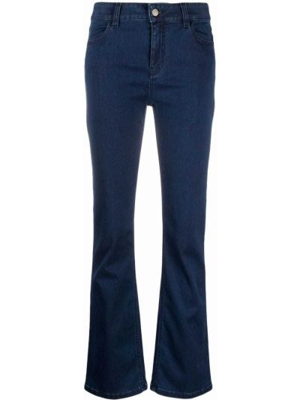 Хлопковые синие джинсы клеш с завышенной талией Piazza Sempione