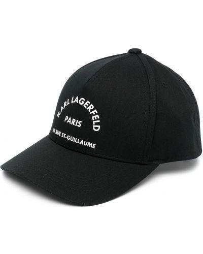 Хлопковая черная кепка с вышивкой Karl Lagerfeld