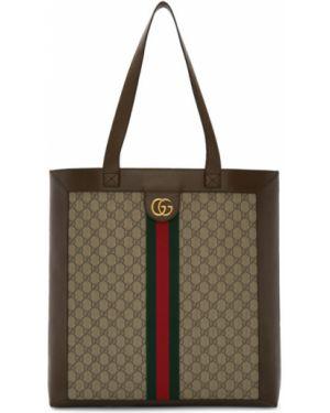 Zielony brezentowy torba na ramię prążkowany Gucci