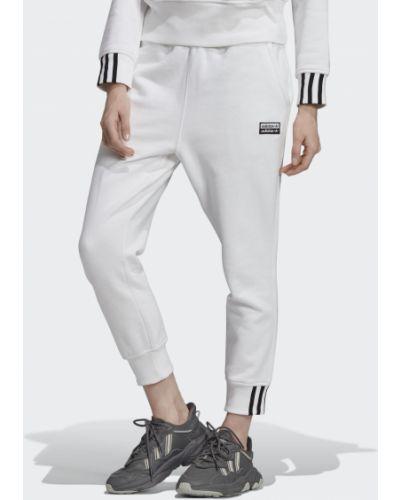 Джоггеры белый с манжетами Adidas