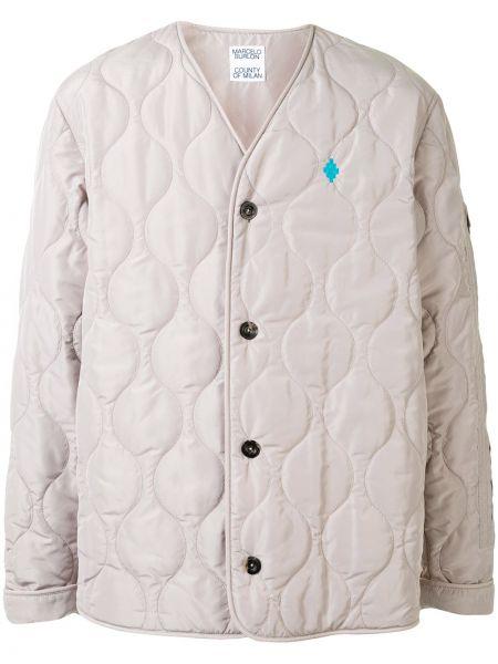 Beżowy pikowana kurtka z haftem z długimi rękawami z dekoltem w szpic Marcelo Burlon County Of Milan