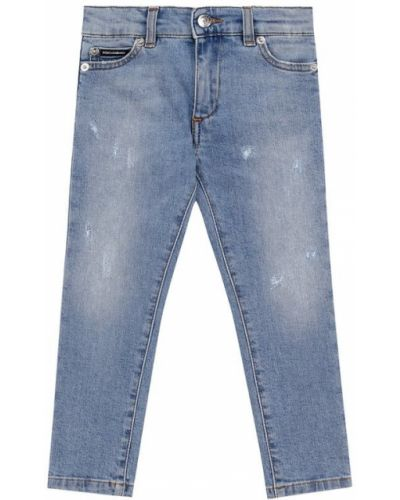 Прямые джинсы делаве с нашивками Dolce & Gabbana