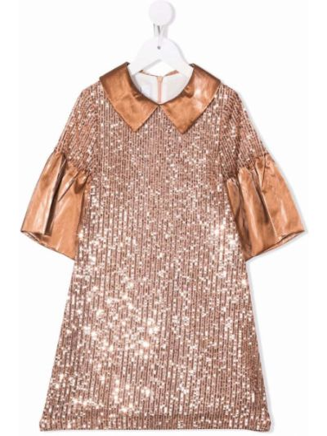 Brązowa satynowa sukienka Colorichiari