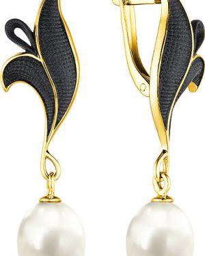 Серебряные серьги с жемчугом золотые De Fleur