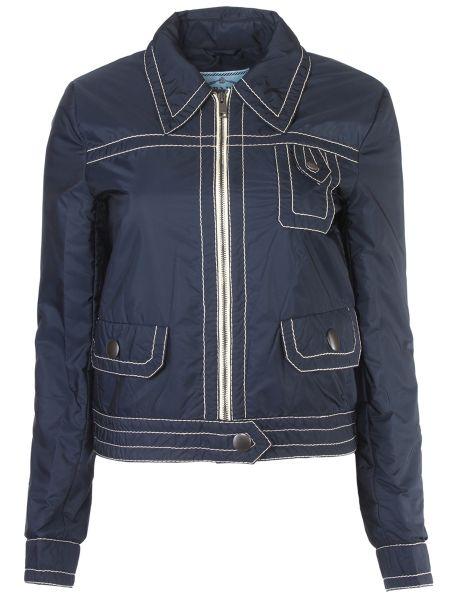 Текстильная синяя куртка на молнии с воротником Prada