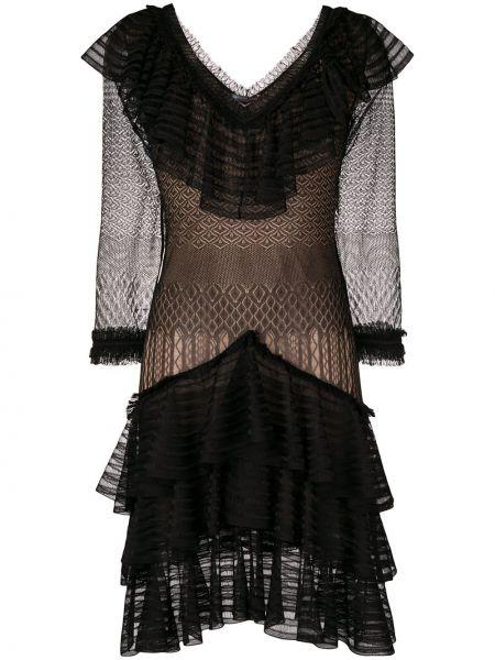 Платье черное с оборками Alexander Mcqueen