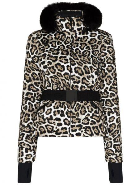 Коричневая куртка горнолыжная с капюшоном из искусственного меха Goldbergh