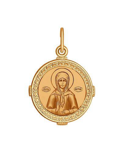 Желтый золотистый крест с декоративной отделкой Sokolov
