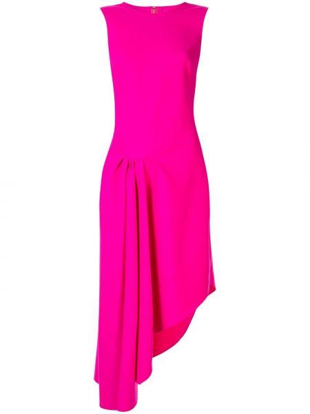 Шерстяное розовое платье миди без рукавов Oscar De La Renta