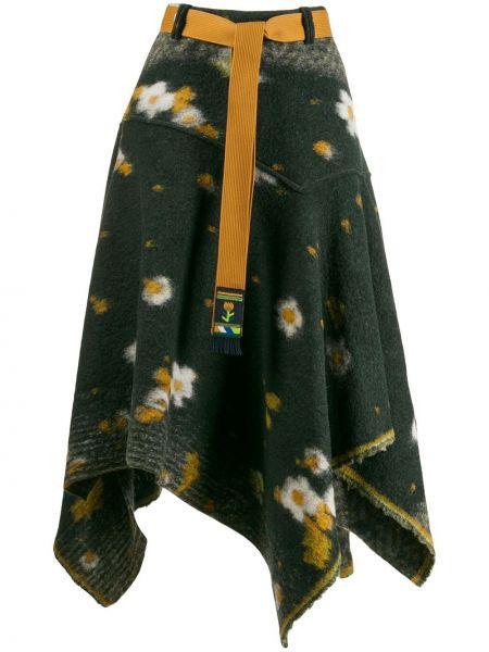 Zielona spódnica z wysokim stanem wełniana High By Claire Campbell