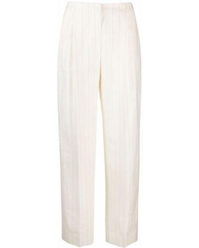 Шелковые белые брюки в полоску Lardini