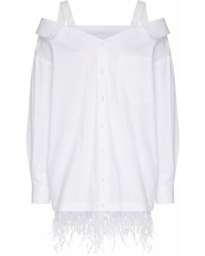 Белая блузка с открытыми плечами на пуговицах ли-лу