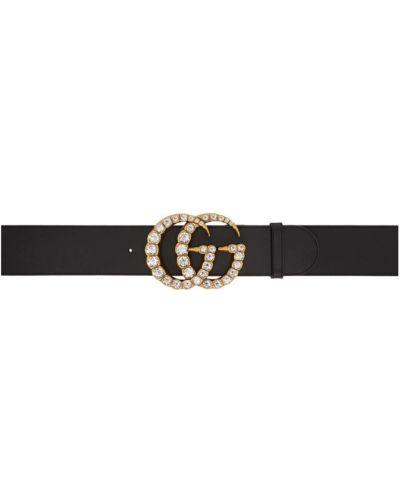 Skórzany czarny szeroki pasek z paskiem bezpłatne cięcie Gucci