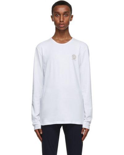 Белая футболка с длинными рукавами с воротником Versace Underwear