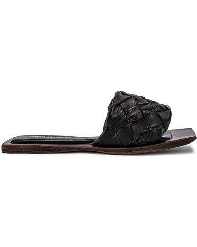 Sandały skórzane na obcasie - czarne Jeffrey Campbell