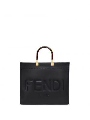 Czarna torba na ramię skórzana Fendi