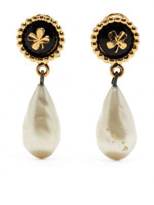 Białe kolczyki perełki srebrne Chanel Pre-owned