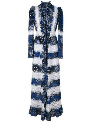 Кружевное платье миди - синее Martha Medeiros