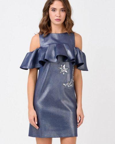 Вечернее платье осеннее синее Ricamare