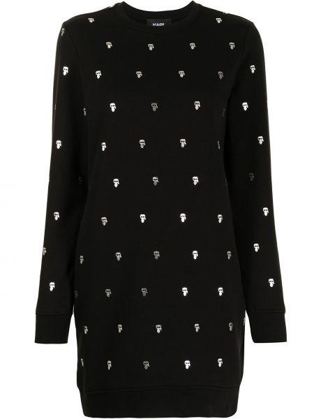 Трикотажное вязаное черное платье макси Karl Lagerfeld