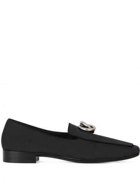 Czarny loafers na pięcie z prawdziwej skóry Giuseppe Zanotti