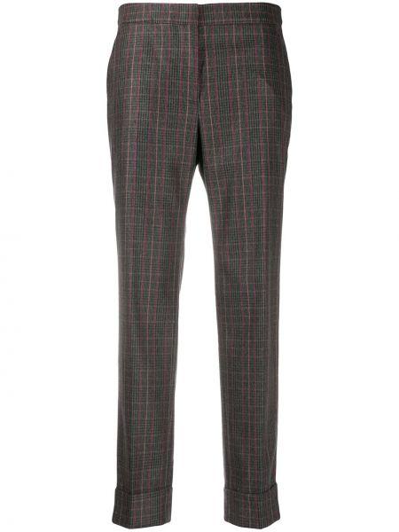 Шерстяные коричневые зауженные укороченные брюки с потайной застежкой Pt01
