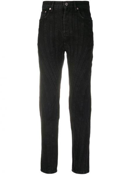 Хлопковые черные джинсы со вставками на молнии Mugler