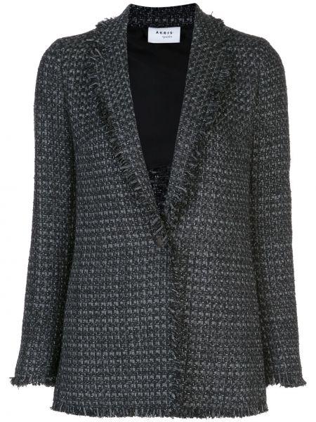 Черный удлиненный пиджак на пуговицах Akris Punto