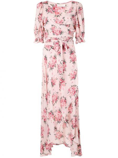 Розовое платье с V-образным вырезом на молнии с манжетами Auguste